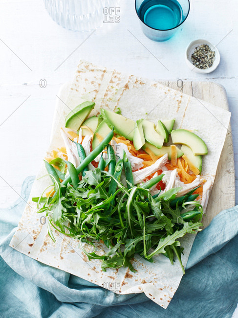 Chicken, bean, avocado, rocket wrap