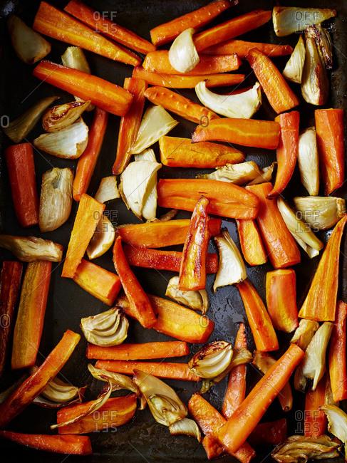 Pan of roast vegetables, overhead view, full frame
