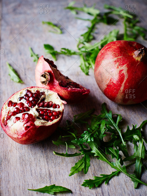 Pomegranate, rocket lettuce