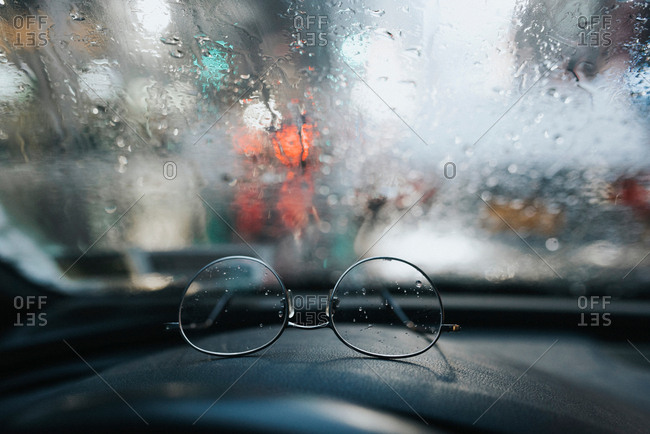 Glasses on dashboard