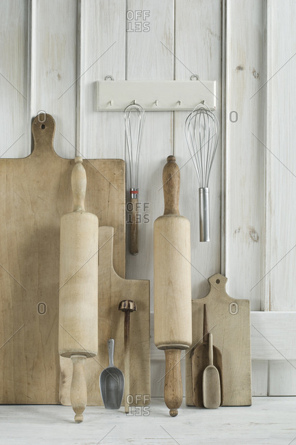 Kitchen utensils- rolling pin- wire whisk- shovel- chopping board
