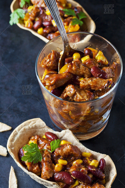 Vegetarian Chili with soy meat cut into strips