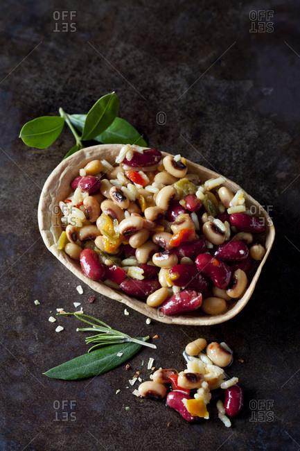 Greek bean salad in edible bowl
