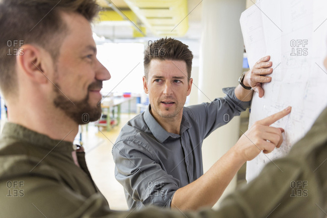Two men discussing plan in factory