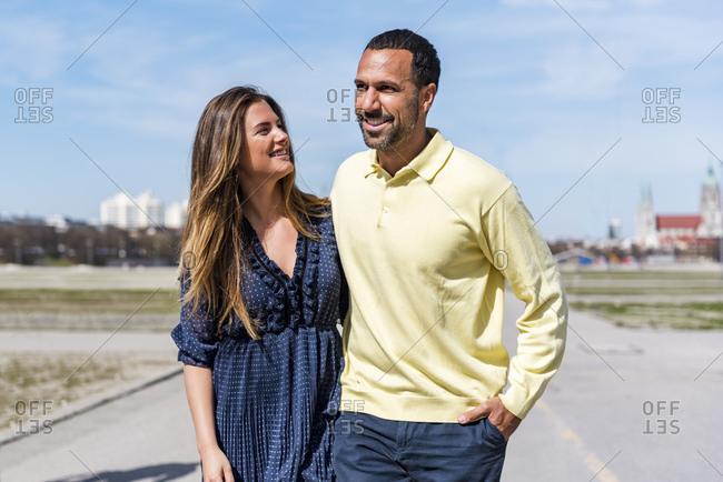 Happy couple on a walk