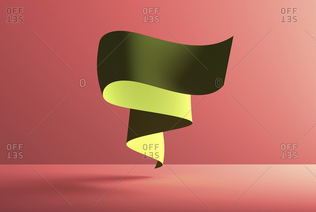 Abstract shape over red background- 3D Rendering