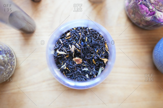 Overhead view of dried tea
