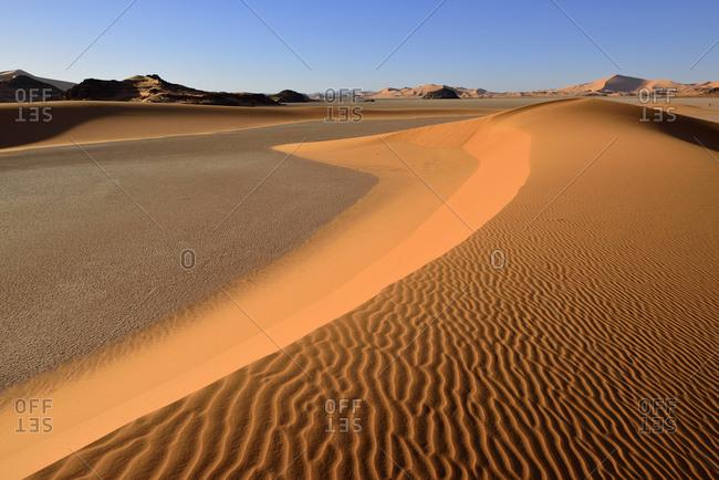 Africa- Algeria- Illizi Province- Sahara desert- Tassili n'Ajjer National Park- Tadrart- sand dunes of In Djerane
