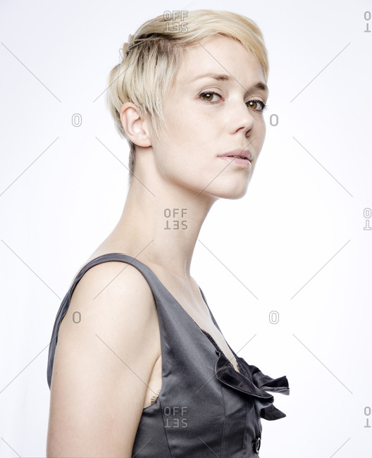 Portrait of woman with blond dyed hair