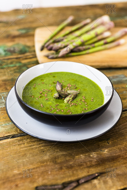 Fresh green asparagus- asparagus soup in bowl