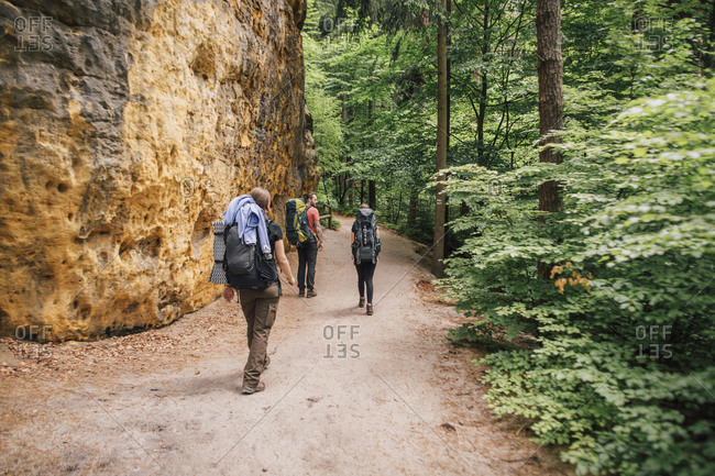 Germany- Saxony- Elbe Sandstone Mountains- friends on a hiking trip