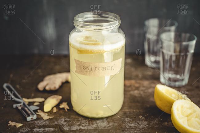 Switchel- homemade drink with ginger- apple vinegar- honey and lemon
