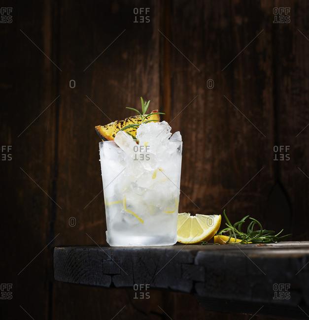 Flamed lemon rosemary vodka- cocktail