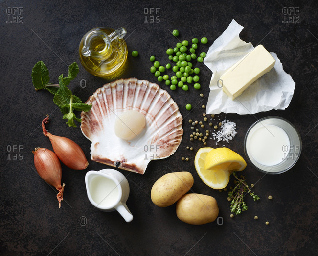 Ingredients for scallops on nut butter with pea and mint puree