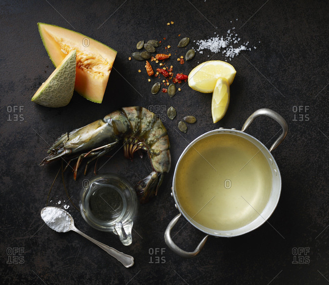 Ingredients for rockmelon soup with prawns and caramelized pumpkin seeds