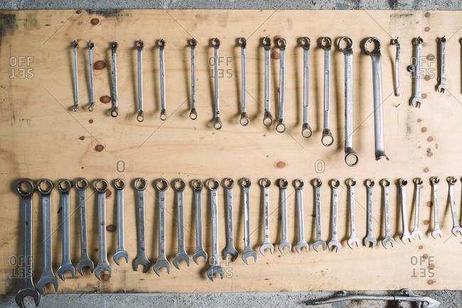 Assortment of screw wrenches in workshop