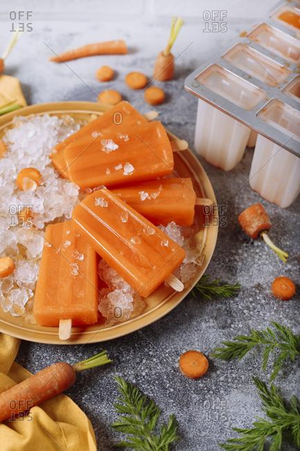 Carrot ice lollies