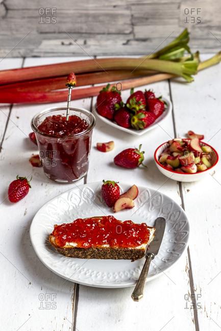 Breakfast table with strawberry rhubarb marmalade- strawberries and rhubarb