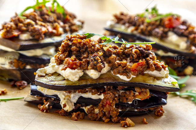 Aubergine lasagna on baking paper- vegetarian