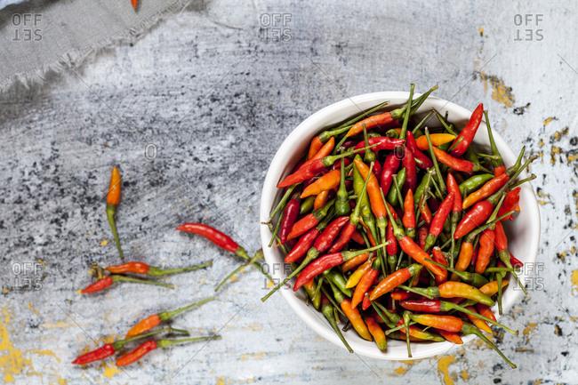A bowl with chilis- Capsicum annuum
