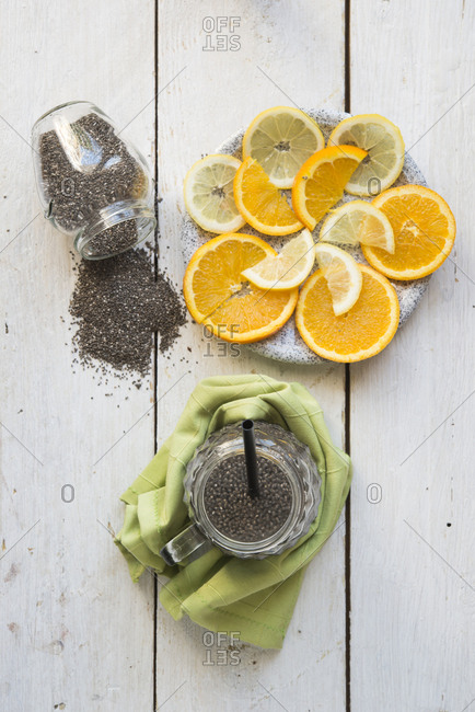 Chia drink with refreshing fruits