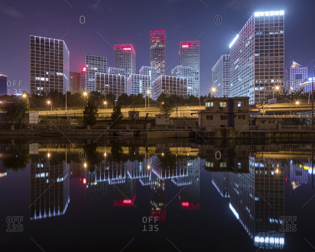 China- Beijing- Central business district and traffic at night
