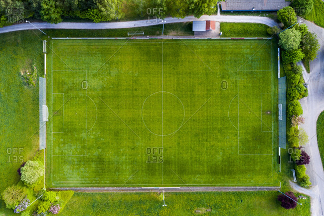 Germany- Baden-Wuerttemberg- Rems-Murr-Kreis- Aerial view of football ground