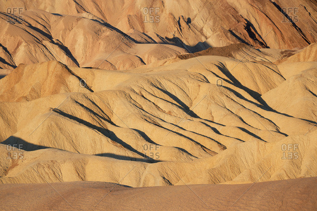 Texture of sand dunes in Death Valley National Park in California at sunrise