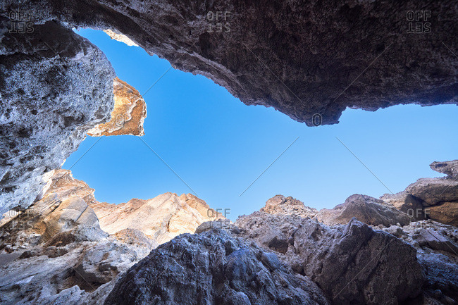Low angle view of rock formations in Death Valley National Park, California