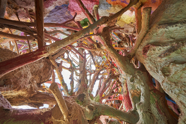 Salvation Mountain, California - April 5, 2018: Colorful tree roots