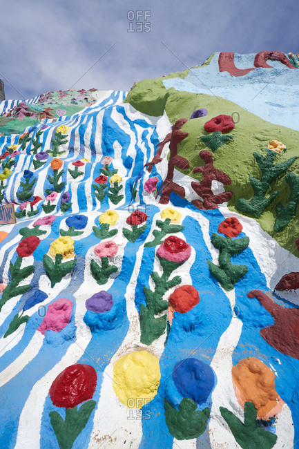 Salvation Mountain, California - April 5, 2018: Colorful flowers on the hillside at Salvation Mountain, California