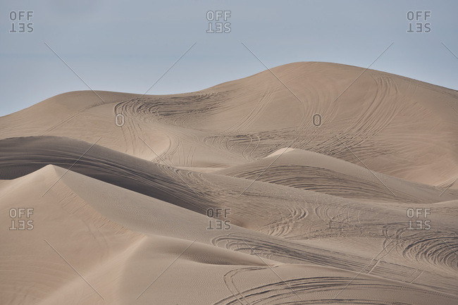 Trails in the sand at the Imperial Sand Dunes, California