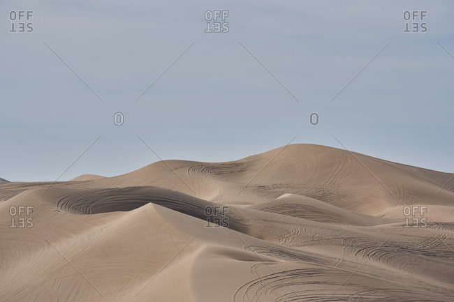 Tracks in the sand at the Imperial Sand Dunes, California