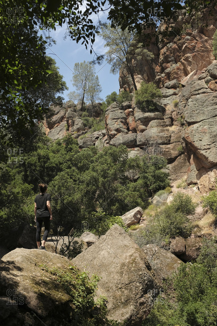 A woman hiking in Pinnacles National Park in California and taking in the views of the natural landscape