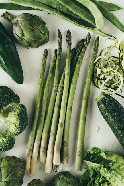 Various green vegetables