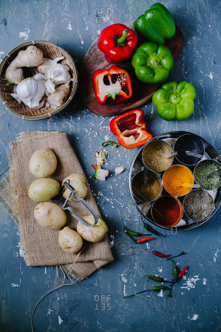 Fresh produce and Indian spices