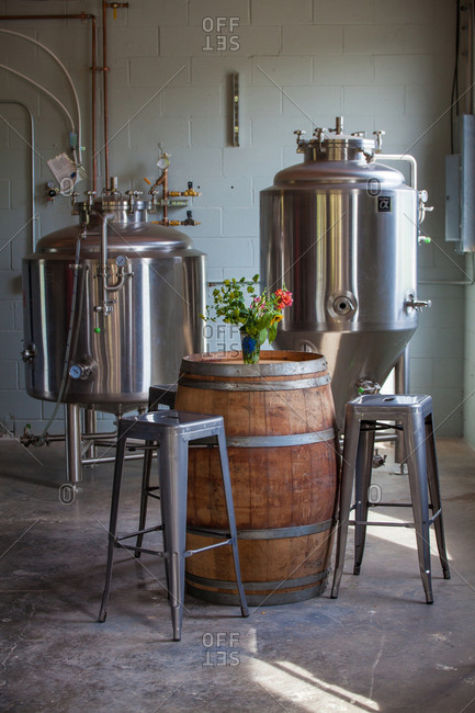 Frankfort, Kentucky, USA - June 8, 2018: Beer making equipment at the West Sixth Farm and Taproom