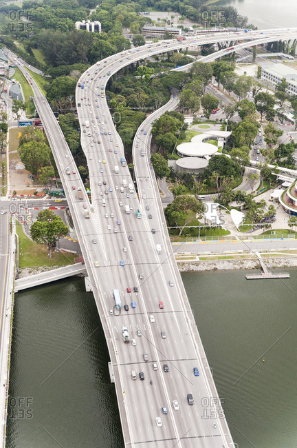 Aerial view of highways in Singapore