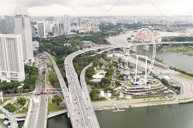 Aerial view of freeways in Singapore