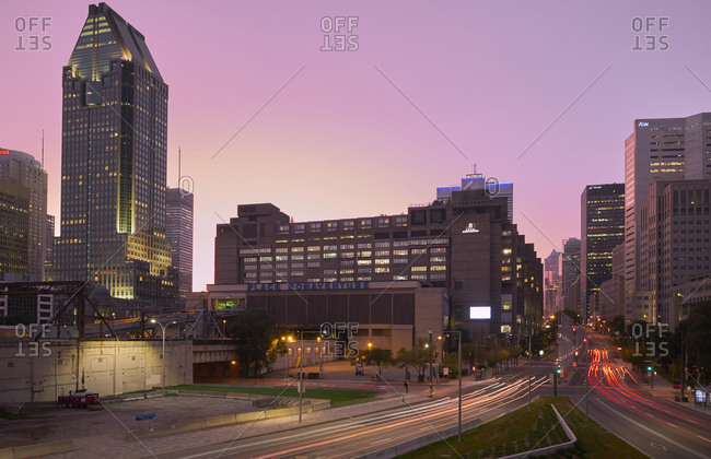 Cityscape of downtown at twilight