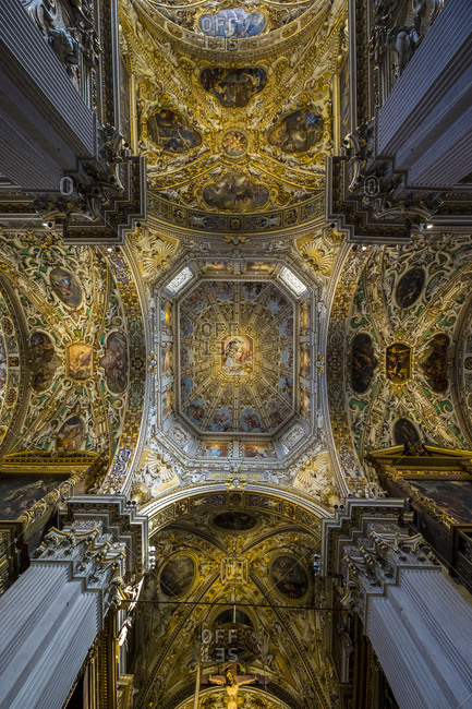 Bergamo, Lombardy, Italy - July 20, 2017: Interior low angle view of the Basilica di Santa Maria Maggiore