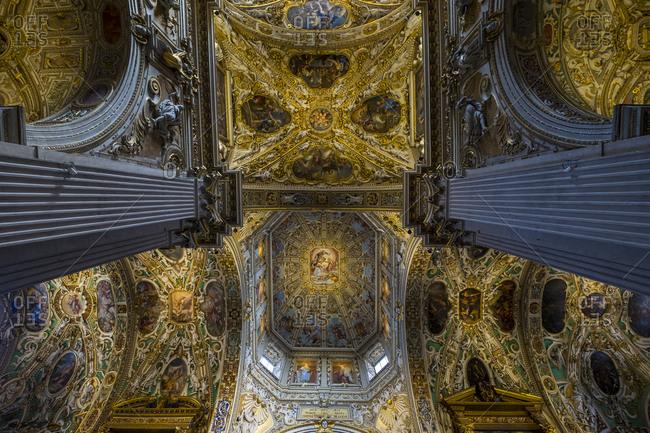 Bergamo, Lombardy, Italy - July 20, 2017: Ceiling of the Basilica di Santa Maria Maggiore