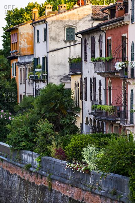 Row of houses in Verona, Italy