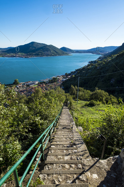Panoramic view of the Predore village from the Madonna della Neve Sanctuary in San Gregorio on Lake Iseo, Lombardy, Italy
