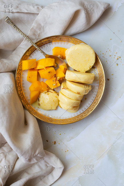 Mango Kulfi made with nuts and saffron