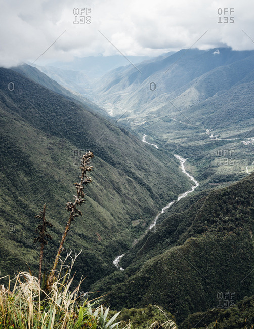 Elevated view of scenic Macchu Picchu valley