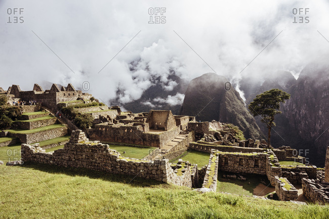 Foggy afternoon at Incan ruins in Peru