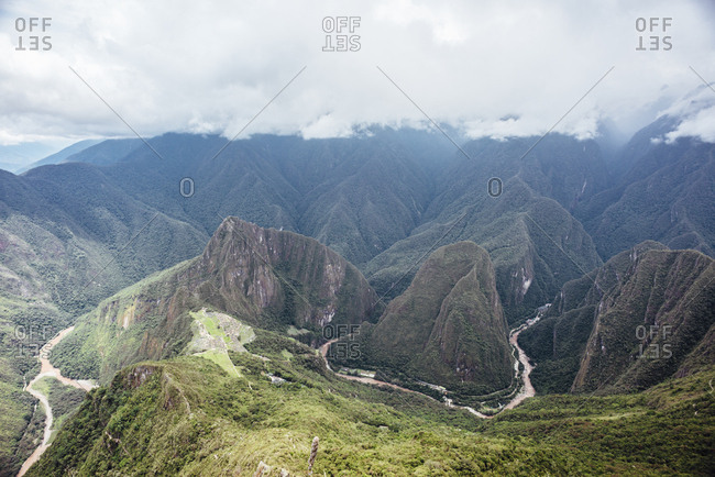 Elevated view of secluded Machu Picchu mountainside