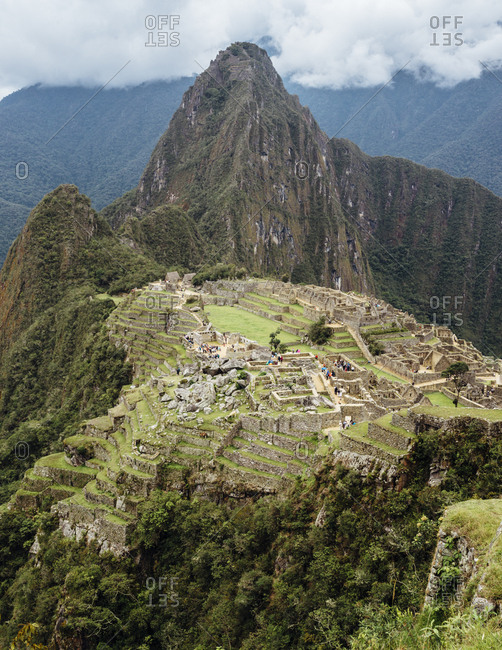 High angle view of Machu Picchu ruins