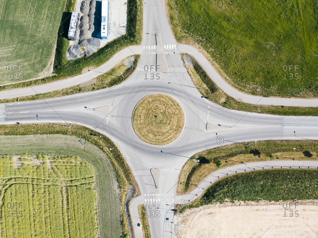 Drone view of empty roundabout in the daytime